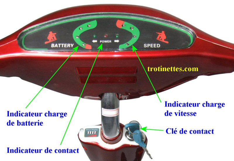 Table de bord et clé de contact pour trotinettes freestyle SURFER